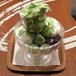 和カフェ yusoshi chano-ma - 抹茶とココナッツのパフェ(税別\800、2015年1月)