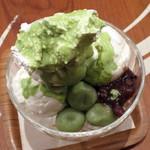 和カフェ yusoshi chano-ma - 抹茶とココナッツのパフェ(アップ、2015年1月)
