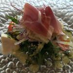トラットリア・ノム - パルマ産生ハムとモッツァレラチーズのサラダ