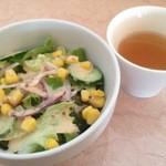 36116691 - ランチのサラダとスープ