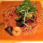 樽源 - 海老とトマトのクリームスパゲッティ