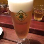 フクロウ餃子 - 生ビール(ハートランド)