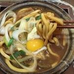 36126808 - 麺は山本屋本店の味噌煮込みの文法に則り、ゴリゴリの硬い食感