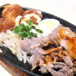 36128604 - A定食 650円 の豚ロース生姜焼、カニコロッケ、ポークかつ、ゆで卵、もやし