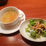 みのりCafe - ランチのスープとサラダ(2013年7月訪問)
