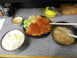 ハイライト - チキンカツ定食(豚汁変更+α)