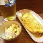 蕎麦家あぜ - 料理写真:お通しと納豆オムレツ!幸せ〜(>_<)