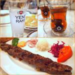 Niaribaba - トルコ酒「ラク」600円、食後のお茶、牛肉ケバブ 1500円