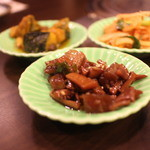 百濟 - 前菜3品、キムチ、イカのの物、かぼちゃ