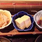 36154647 - +200円の小鉢三品 ほたるいか・出汁巻き玉子・切干大根