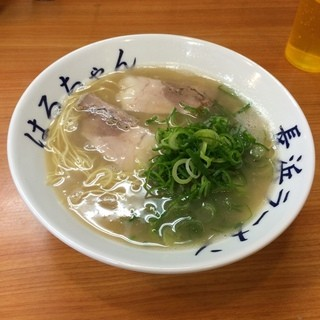 長浜ラーメンはるちゃん - 長浜ラーメン  スープが意外にあっさりいただけました (*´ڡ`●) チャーシューが厚いので一杯でも食べ応えありです!