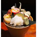 十八番 - 「氷鉢お造り盛り・一人前」(2014.09)