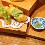 浪花ろばた 頂鯛 - 頂鯛定食Plus(帆立の大葉包み揚げとお野菜二種の天ぷら)