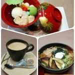かんながら - 昼ご飯は奮発して彩りうどん、竹取物語(デザート)、珈琲♪  デザートは別注文で食べたけど、一番下には抹茶寒天が入っていました(*´艸`*)  彩りうどんは色んな具がたっぷり入っていて大好きな温泉卵も( *´艸)