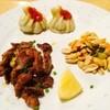 ネパール料理ANITA - 料理写真:ちょい呑みMOMOセット⇒MOMO、スパイシー鶏皮、ピーナッツの香り和え