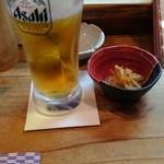 いざかや田むら - 生ビール&つきだし