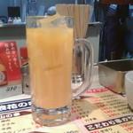 やけるやんか千房 - サービスドリンクのオレンジジュース(でかっ!)