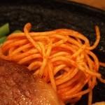 ロア - ビーフステーキ(ダブル)付け合せのスパゲティ