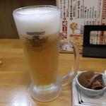 sasanoya - 生ビール。おでんの写真忘れた(笑)