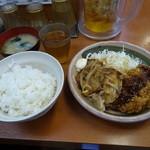 Sガスト - 鶏ももチキンカツ&豚ロースのしょうが焼き定食でございます