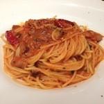 36247025 - 自家製パンツェッタのアラビアータ スパゲッティ 柚子胡椒風味(1080円)