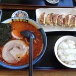 大紅ラーメン - らーめん定食(辛味噌・ぎょうさ・小ライス・梅干し) 850円