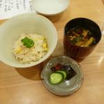 道下 - 飯:沖縄とうもろこし、切干大根、香の物、汁:赤出汁