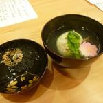 道下 - 煮物:三重産あさり若牛蒡真薯、菜の花、原木椎茸、桜麩、木の芽添え、清汁椀