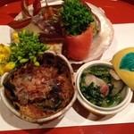 36269232 - 鱈押し寿司、鉄皮ゼリー寄せ、しゃこ真丈、菜の花サーモン巻、干柿クリームチーズ巻、芹胡麻和え、蕨のお浸し