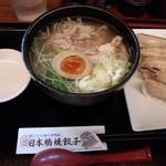 shanshannihombashiyakigyouza - さっぱり鶏そばと餃子のセット880円
