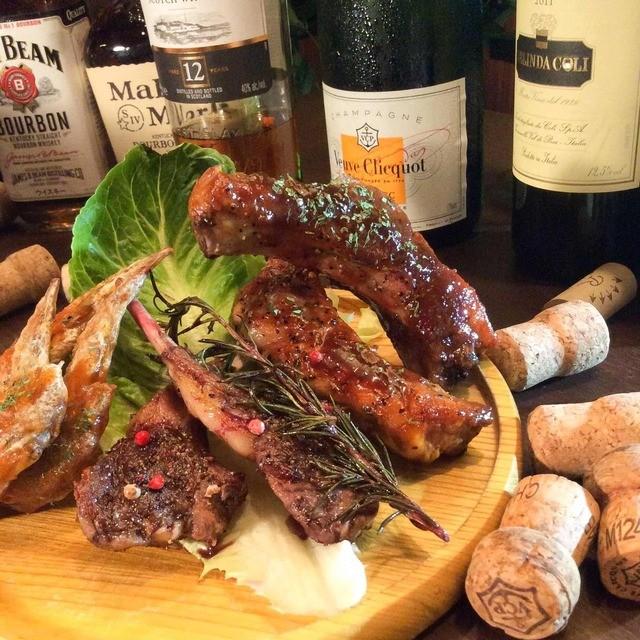 池袋 肉バル中町 - 骨付き肉のコンボ