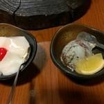 いな蔵のカルビ - 杏仁豆腐とアイス