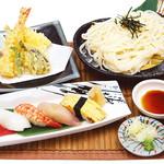 晤寶 - 稲庭風うどん天ぷら寿司ランチ 1,382円