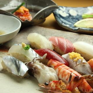 天然物の鮨種と江戸前赤酢のシャリとのハーモニー