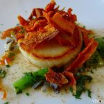ヴァンテアン - 「ホタテ貝のソテー、ワイルドライスと旦千花農園の江戸菜添え」