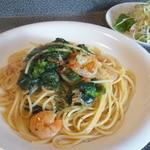 コラルメンテ - Aランチ:えびと干しえび、菜の花のペペロンチーノ