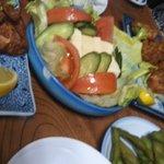 竹泉 - から揚げ お刺身 サラダ お漬物