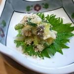 36319245 - これも春らしいぬた 分葱、茗荷、藻貝(標準和名サルボウ)に擂り胡麻を