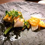 36323016 - 鯛と焼菜の花カラスミまぶし ウドと金柑の瞬間ピクルス