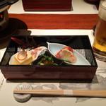 個室居酒屋 番屋 - 前菜 たらば蟹炙りみぞれ酢和え、根三つ葉御浸し、玉子豆腐かに身乗せ