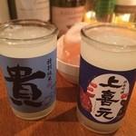 立喰酒場 buri - buriで日本酒。私は日本酒弱いので充分。