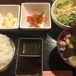 36344374 - サラダ、さきイカのキムチ風?、ポテサラ、味噌汁付