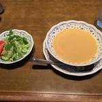 ステーキハウス慶 - スープとサラダ