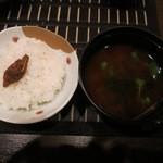 四間道右近 - ご飯とほたるいかの佃煮が良く合います。