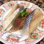 スーパー回転寿司やまと - 青魚三貫 鯵、コハダ、サバ