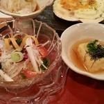 36357833 - 長芋と階層のサラダ、揚げ出し豆腐です。