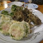 海森 - 天ぷら盛合せ:ゴーヤのポーク詰め、もずく、アーサ(青海苔)