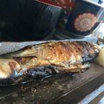 根室食堂 - いくらのとろろ丼と秋刀魚の塩焼き定食の秋刀魚