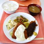 イイオ食堂 - Bディッシュ(アジフライ,串カツ)+定食セット ¥310+¥190