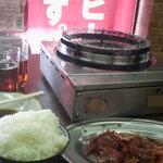 里乃家 - 焼肉定食780円+味噌汁とキムチ付き